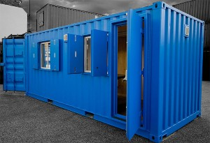 blue portable office windows door