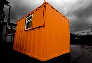 orange portable office with window