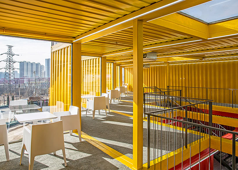 interior shipping container offices china yellow walls