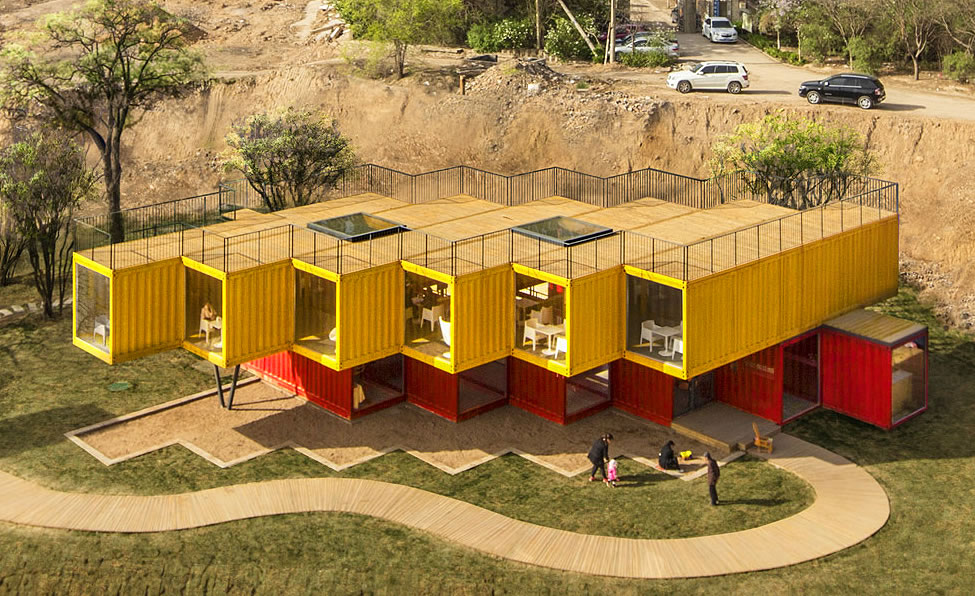 stacked shipping containers pavilion taiyuan china