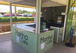 marina cafe serving counter entrance
