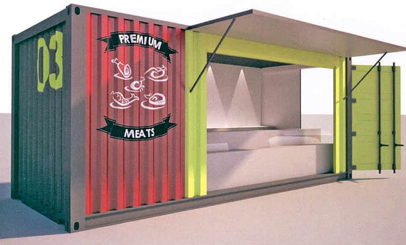 converted shipping container market stall design visual