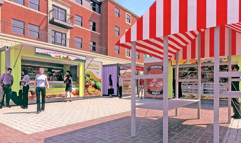multicoloured market stall shipping containers drawings