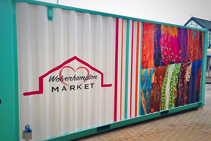 wolverhamptom market stalls made with shipping container