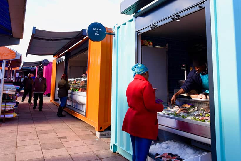 wolverhamptom shipping container market stalls open