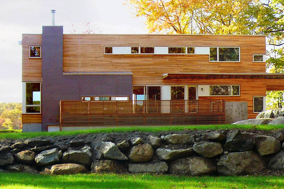 cedar clad shipping container house rear view
