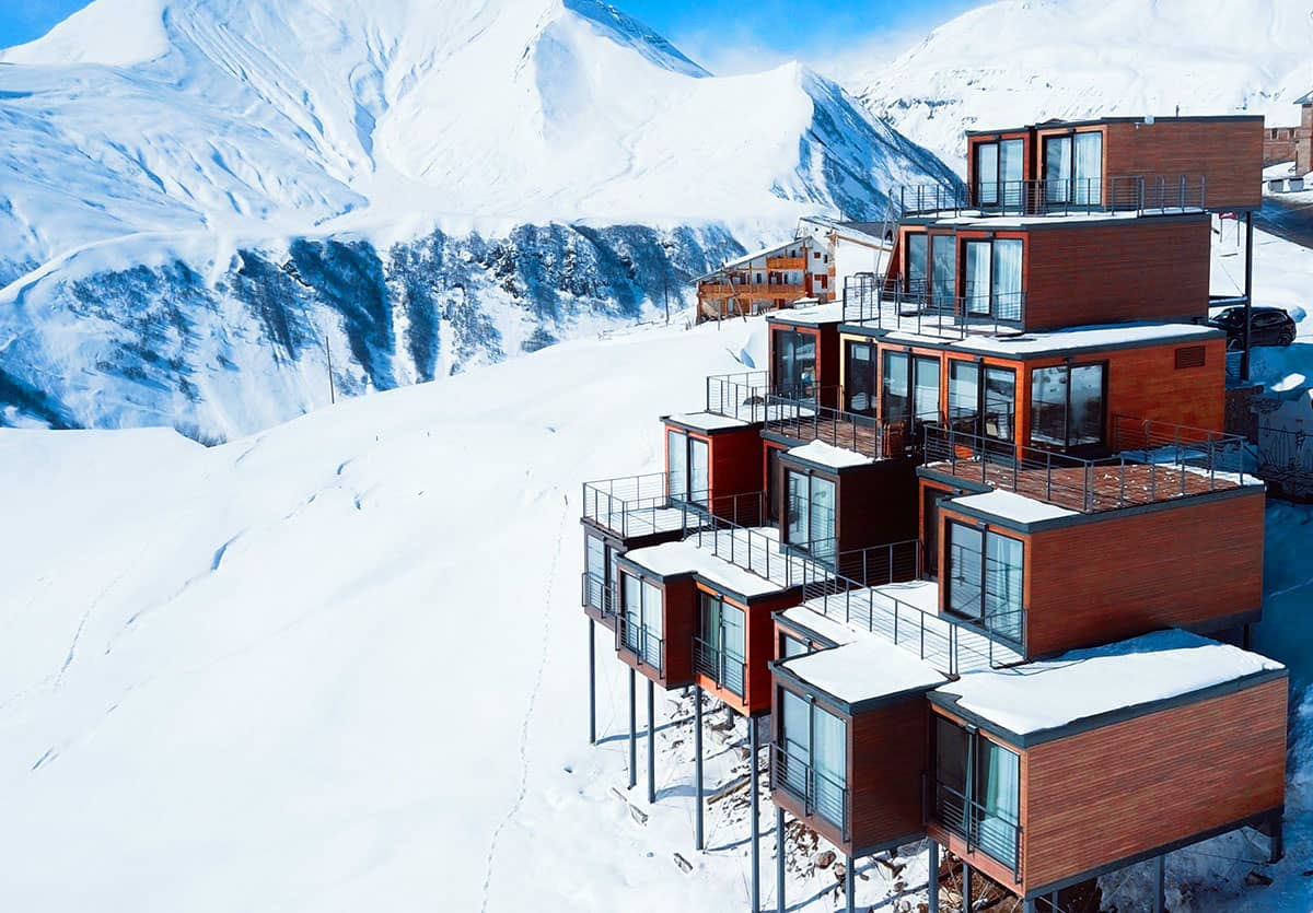 converted shipping containers elevated mountain views