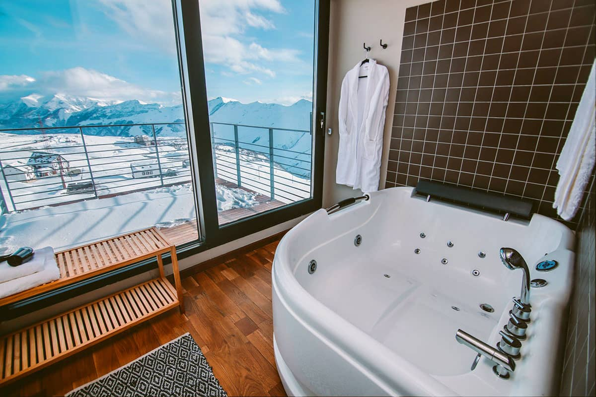 en suite bath panaoramic views caucasus mountains