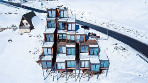 shipping container hotel caucasus mountains