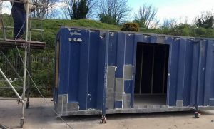 blue old shipping container