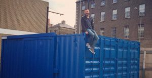 blue shipping container deleivered conversion ready dublin
