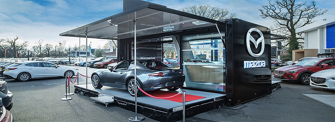 mazda car display stand container
