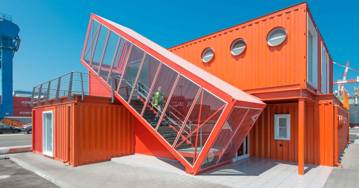 converted shipping containers exhibition stand