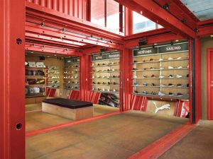 red interior experiential shipping container recycled