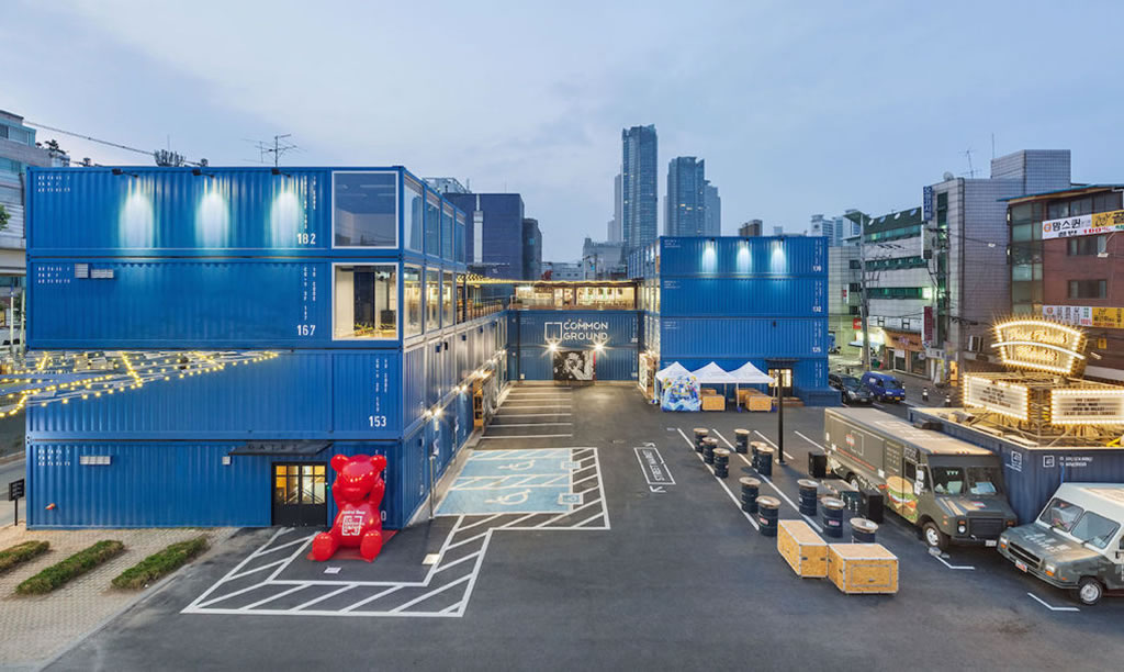 four storey shipping container shopping centre