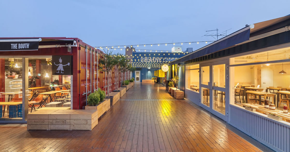 shipping container restaurants al fresco