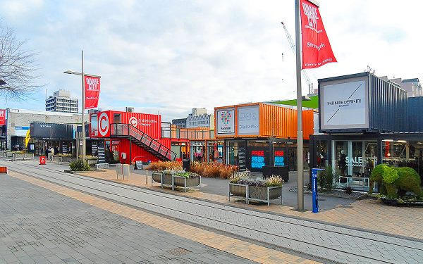 Makeshift Shipping Container Shops in Christchurch, NZ