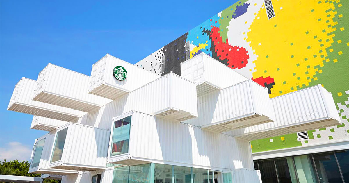 starbucks shipping containers drive thru