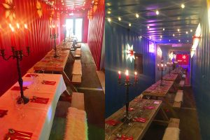 converted shipping containers interior dining spaces
