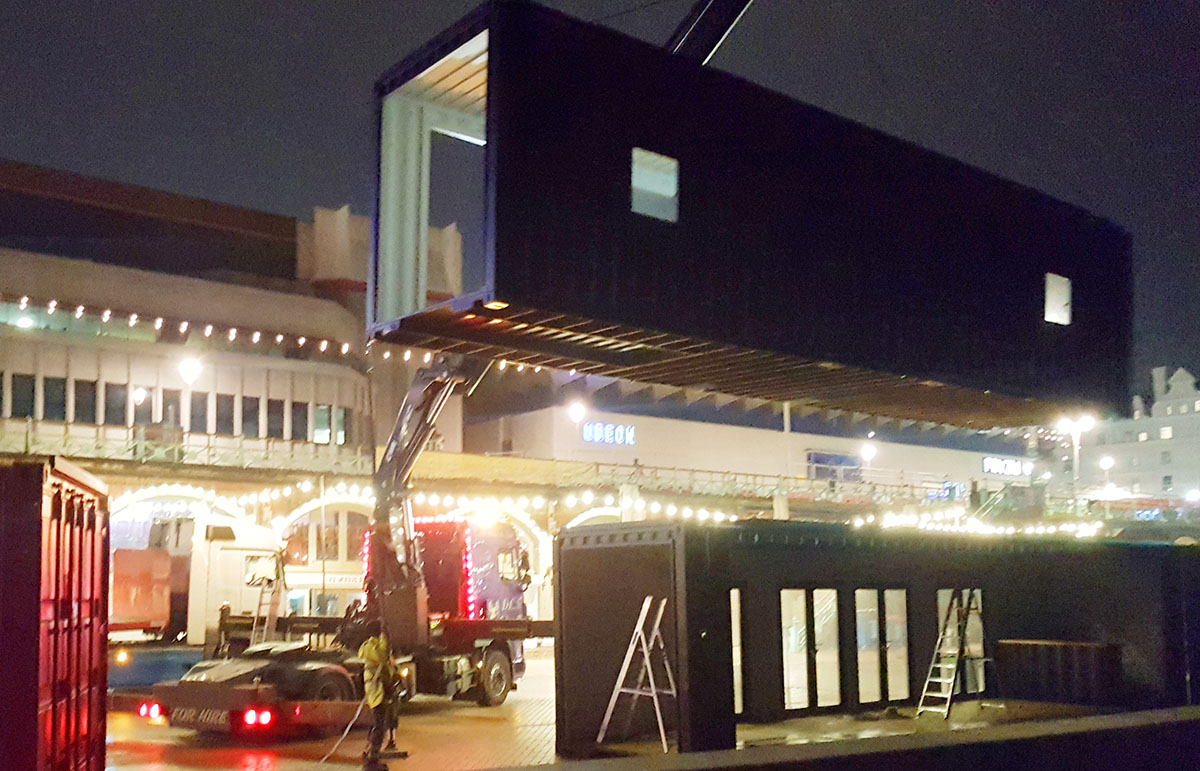 shipping container installation brighton music hall