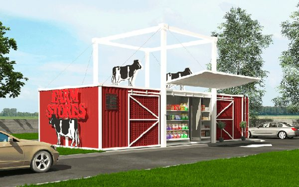 Recycled Shipping Containers used to build Farm Shop