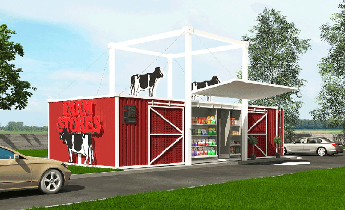 shipping container farm shop