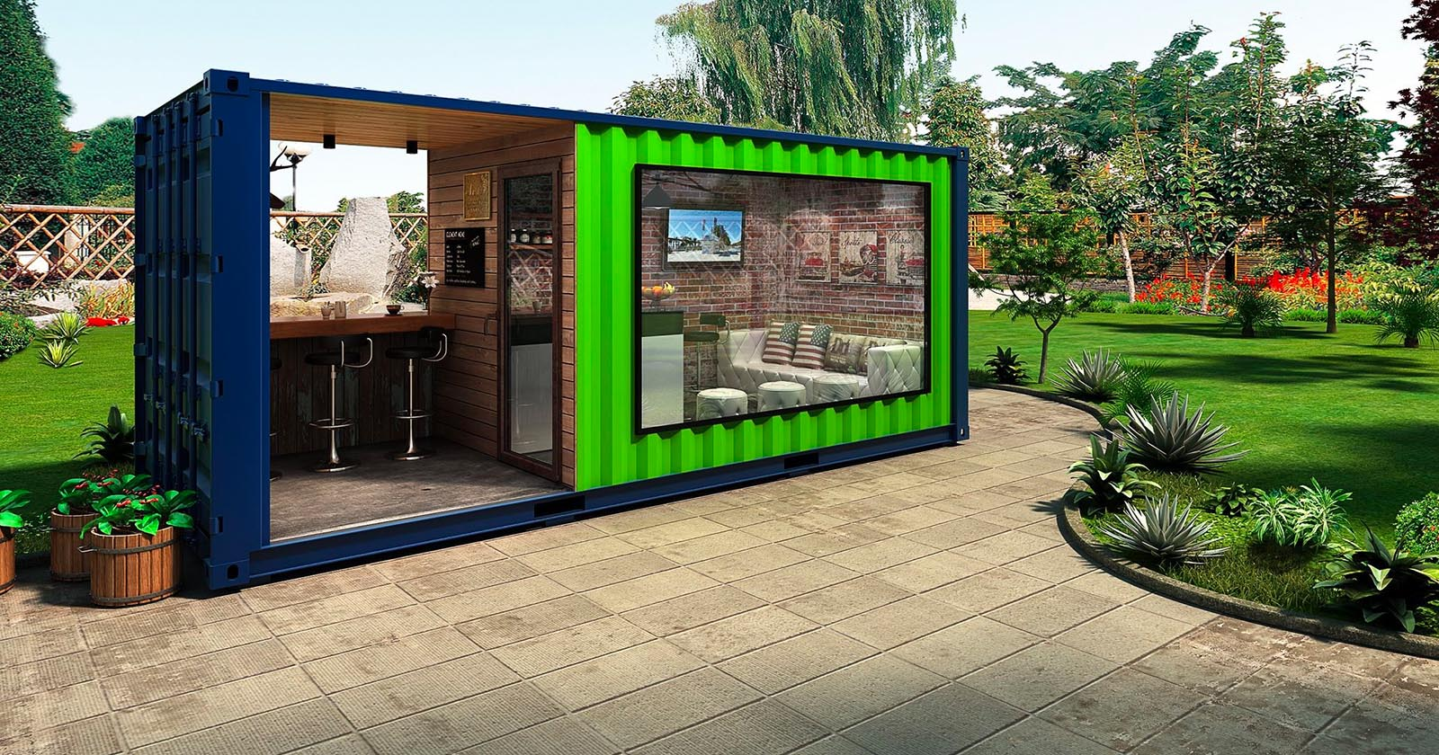 eco friendly shipping container cafe