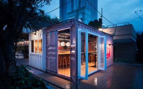 Recycled Shipping Container turned into Trendy Bar in Tokyo