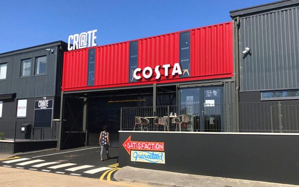 costa coffee container conversion red grey