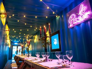 pop-up cafe dining area shipping container