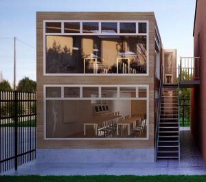 stacked cantine extension recycled shipping containers
