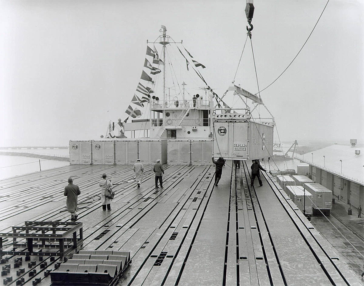 first containers loading ss ideal x 1956