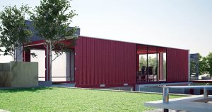 pop up office shipping container red