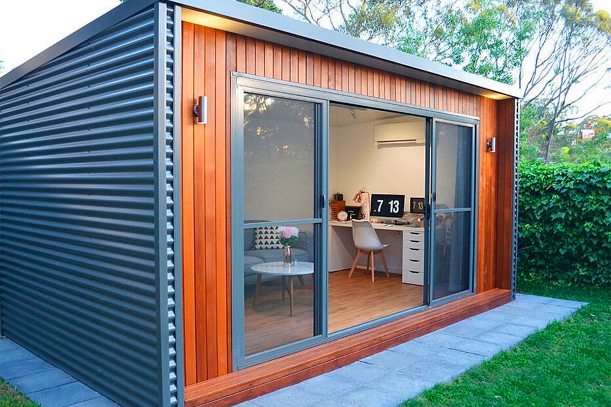 stylish modern shipping container home office