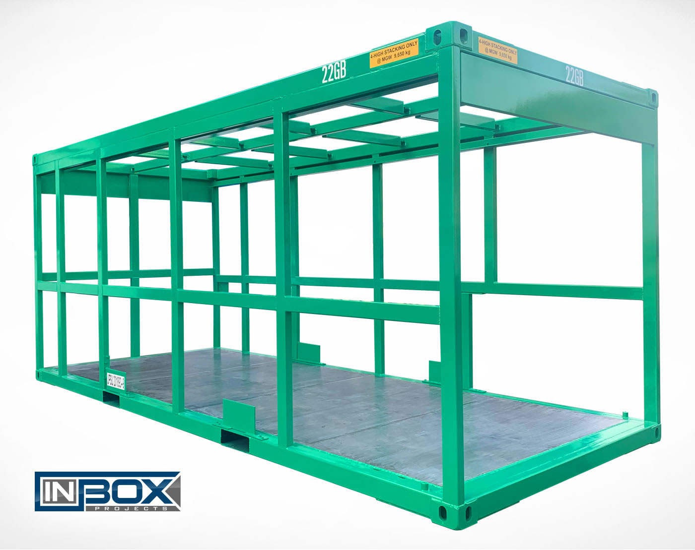 green open frame shipping container fuel tank housing