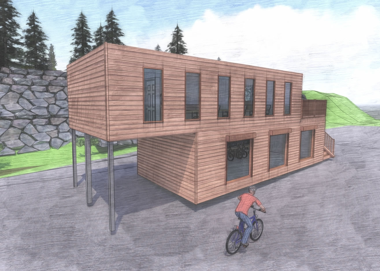 wood cladding cyclewise container design 2 story bike storage