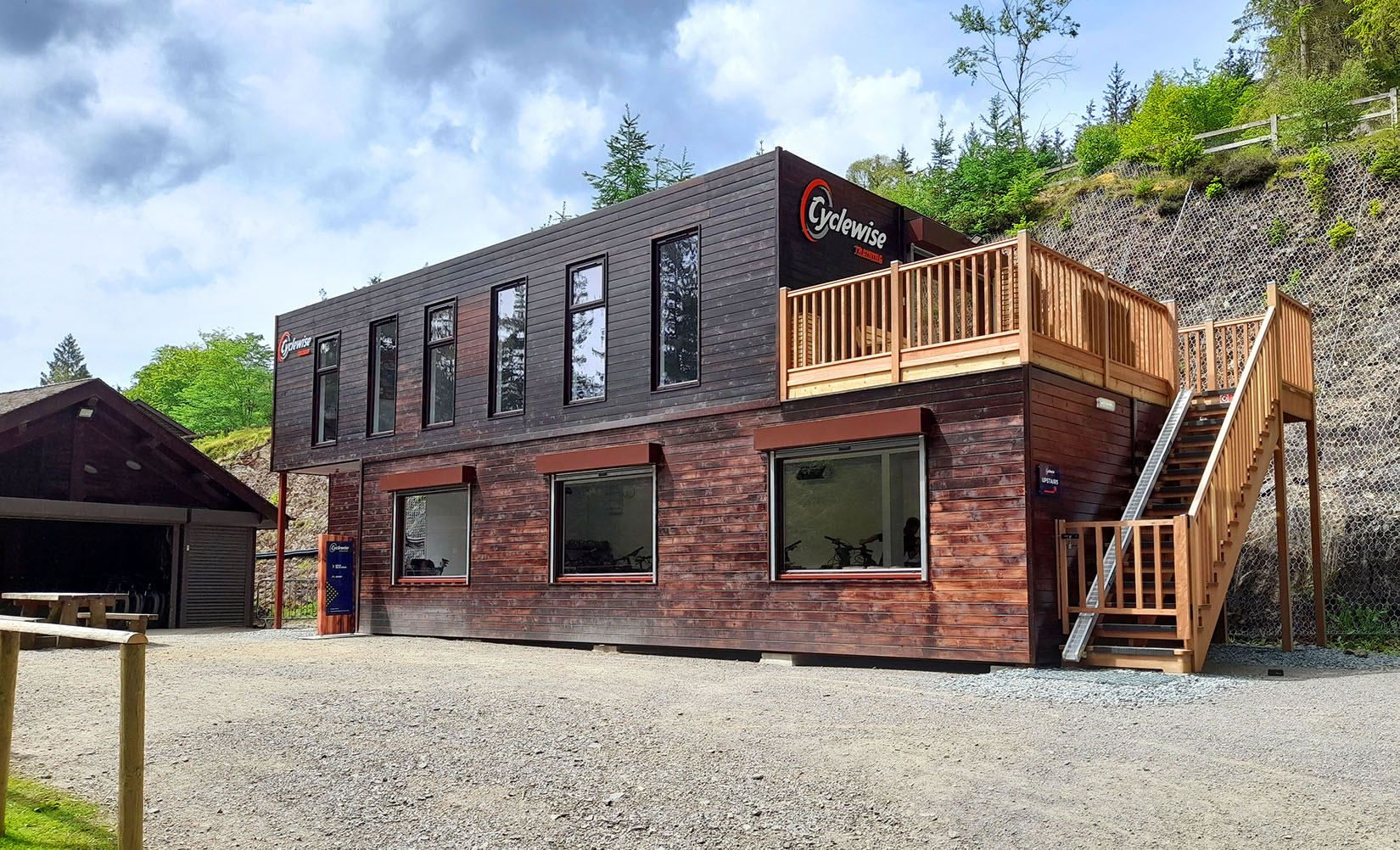 two storey converted shipping containers timber cladding