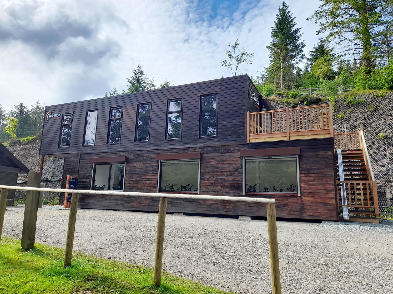 two storey timber cladding shipping container cyclewise whinlatter forest