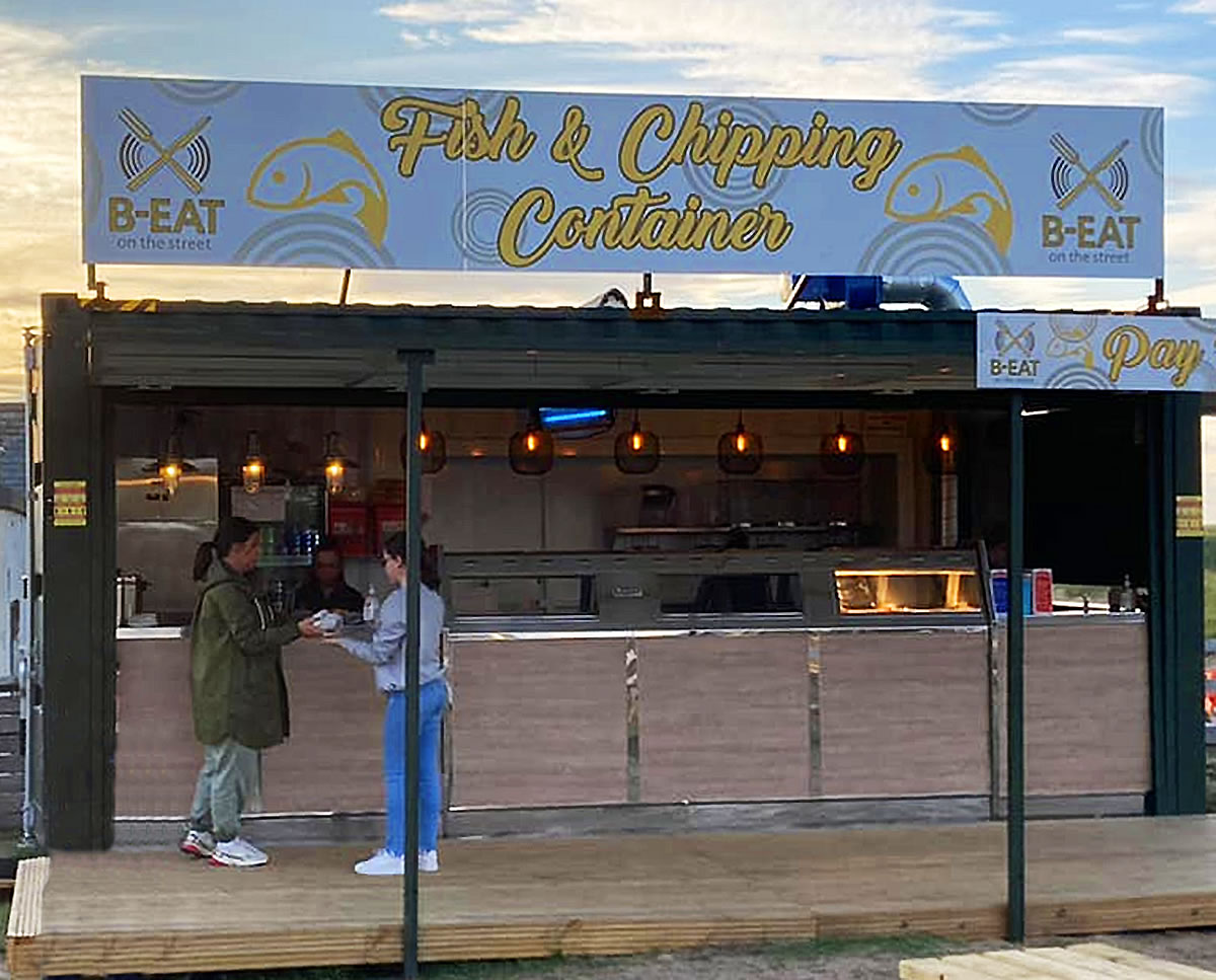 pop-up shipping container beach fish chips